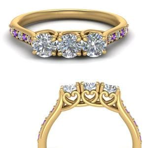 Cathedral Purple Topaz Wedding Band