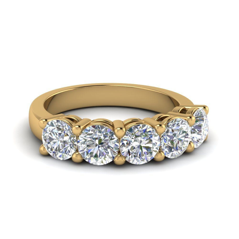 18K Yellow Gold Round Cut Ring