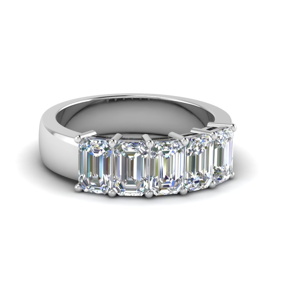 2.5 Ct. Emerald Cut 5 Stone Diamond Ring