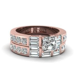 2.5 Ct Princess Cut And Baguette Diamond Bridal Sets In 14K Rose Gold