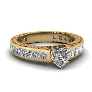 2.50 Ct. Diamond Vintage Channel Set Heart Shaped Engagement Ring In 14K Yellow Gold