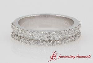 3 Row Round Diamond Wedding Band In White Gold