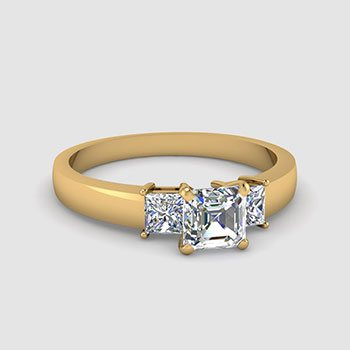 3 Stone Asscher Shaped Diamond Rings