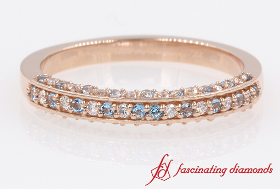 3 Side Pave Set Blue Topaz Band