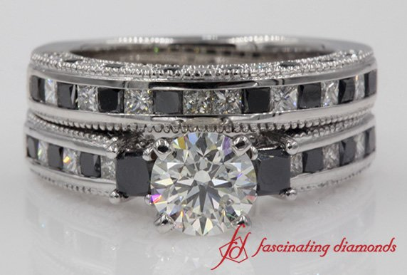 3 Stone Channel Black Diamond Bridal Set