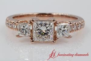 3 Stone Diamond Princess Cut Wedding Ring In Rose Gold