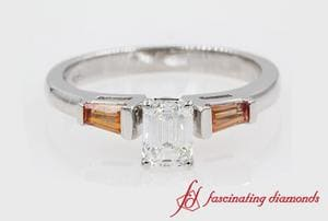 Orange Sapphire Baguette Engagement Ring