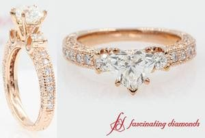 3 Stone Heart Diamond Vintage Engagement Ring In Rose Gold