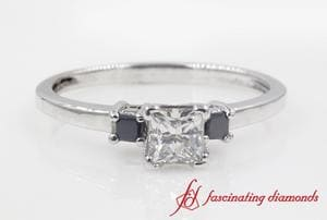 3 Stone Princess Cut Black Diamond Engagement Ring In Platinum