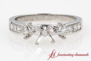 3 Stone Princess Cut Ring Settings