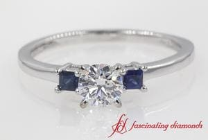 3 Stone Round Cut Engagement Ring With Sapphire In White Gold