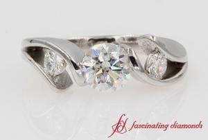 3 Stone Tension Set Engagement Ring In White Gold