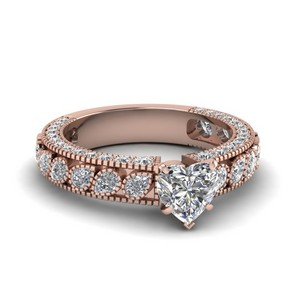 18k Rose Gold Heart Diamond Rings