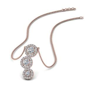 3 Halo Diamond Drop Pendant In 18K Rose Gold