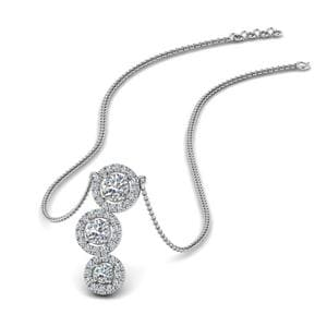 3 Halo Diamond Drop Pendant