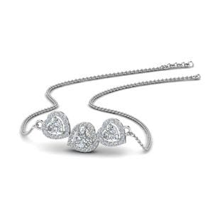 3 Halo Diamond Heart Pendant