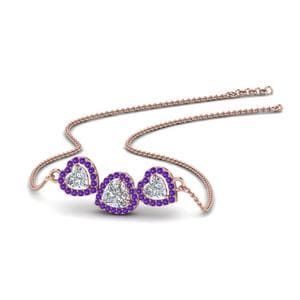 3 Halo Purple Topaz Pendant