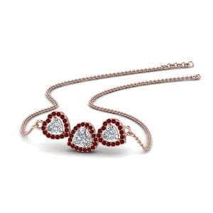 Triple Halo Ruby Pendant