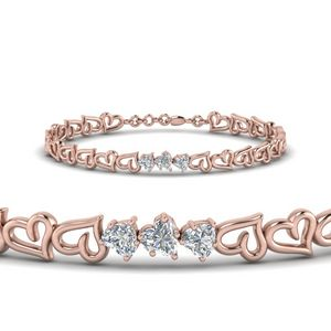 3 Heart Diamond Bracelet In 14K Rose Gold
