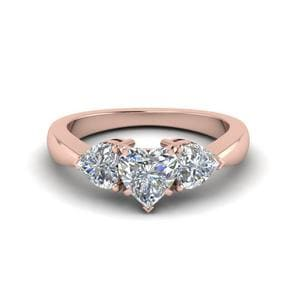 3 Heart Shaped Diamond Engagement Ring In 14K Rose Gold