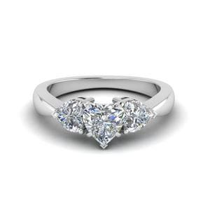 3 Heart Shaped Diamond Engagement Ring In 14K White Gold