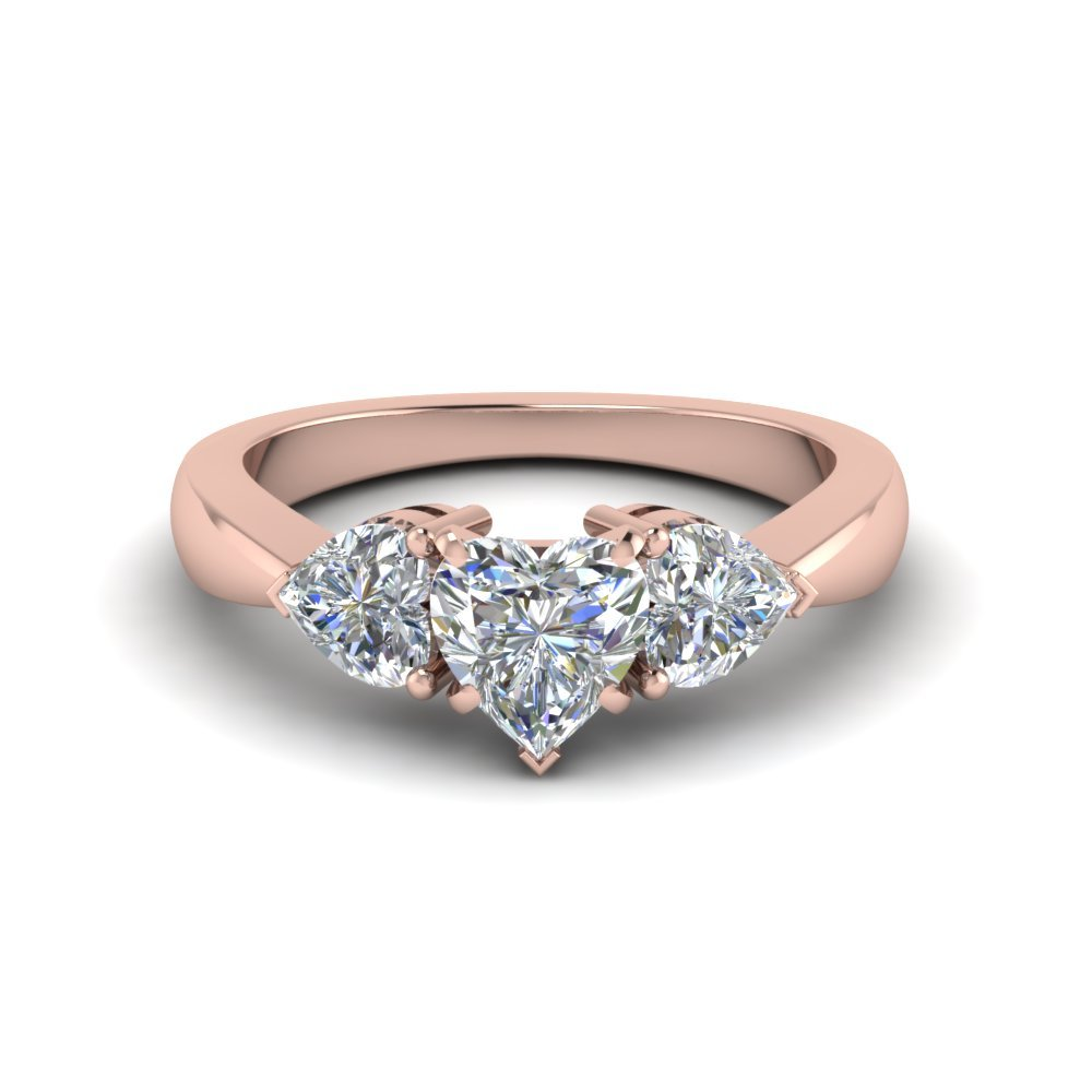 Heart Shaped 3 Stone Ring