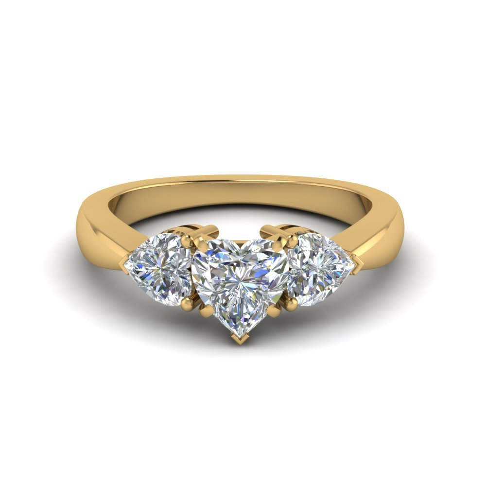 3 Heart Shaped Diamond Engagement Ring In 18K Yellow Gold