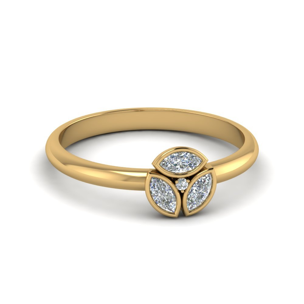 3 Marquise Diamond Ring For Women In 14K Yellow Gold