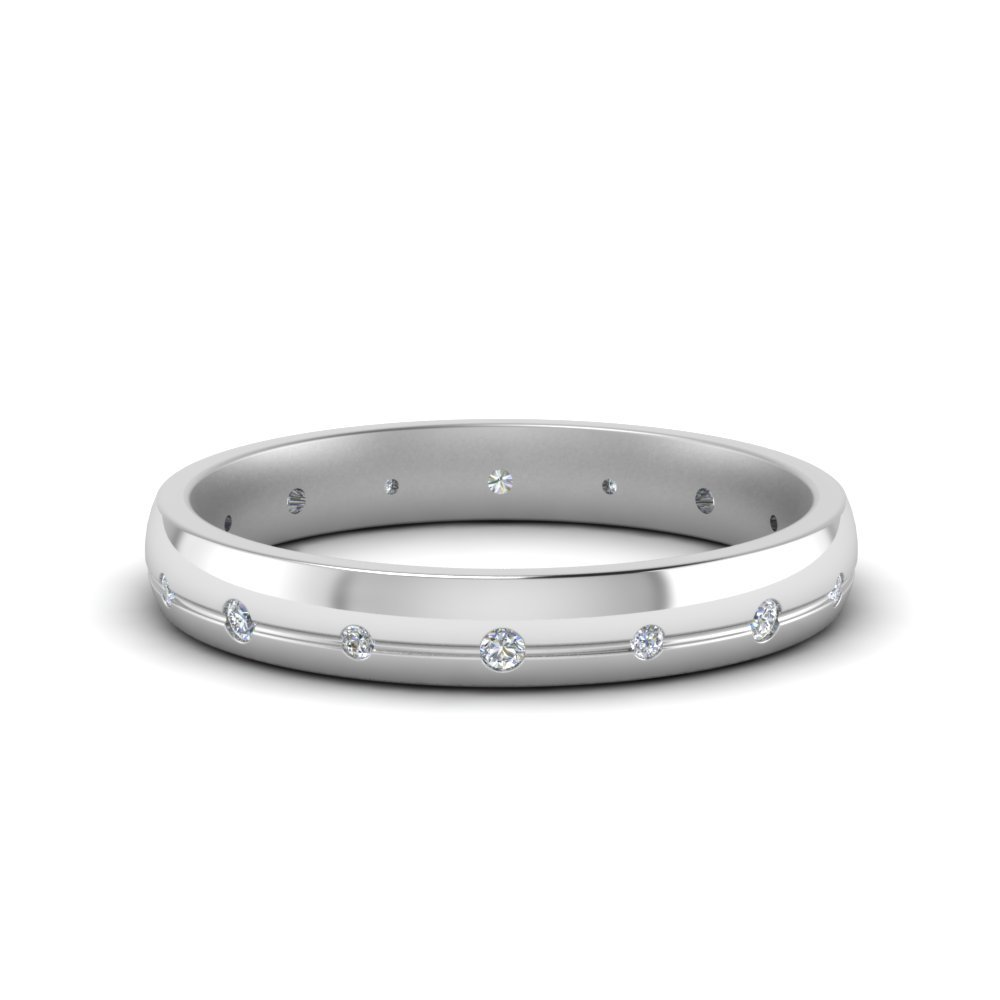 3 Mm Classic Diamond Wedding Band For Her In 14K White Gold