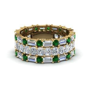 Emerald Round Diamond Band