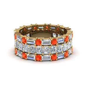 Orange Topaz Eternity Stack Band