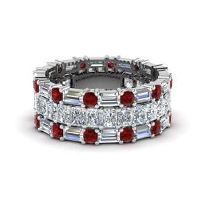 Ruby Trio Wedding Band