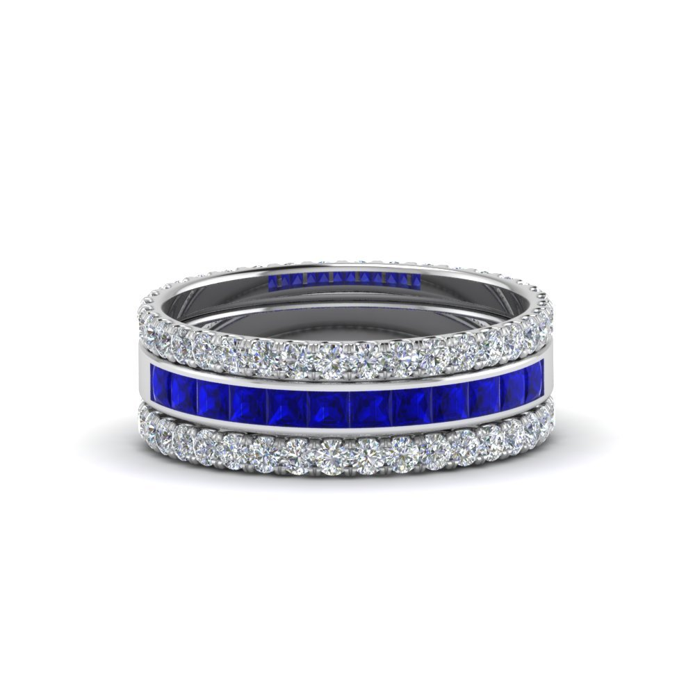 3 Piece Stackable sapphire Eternity Band