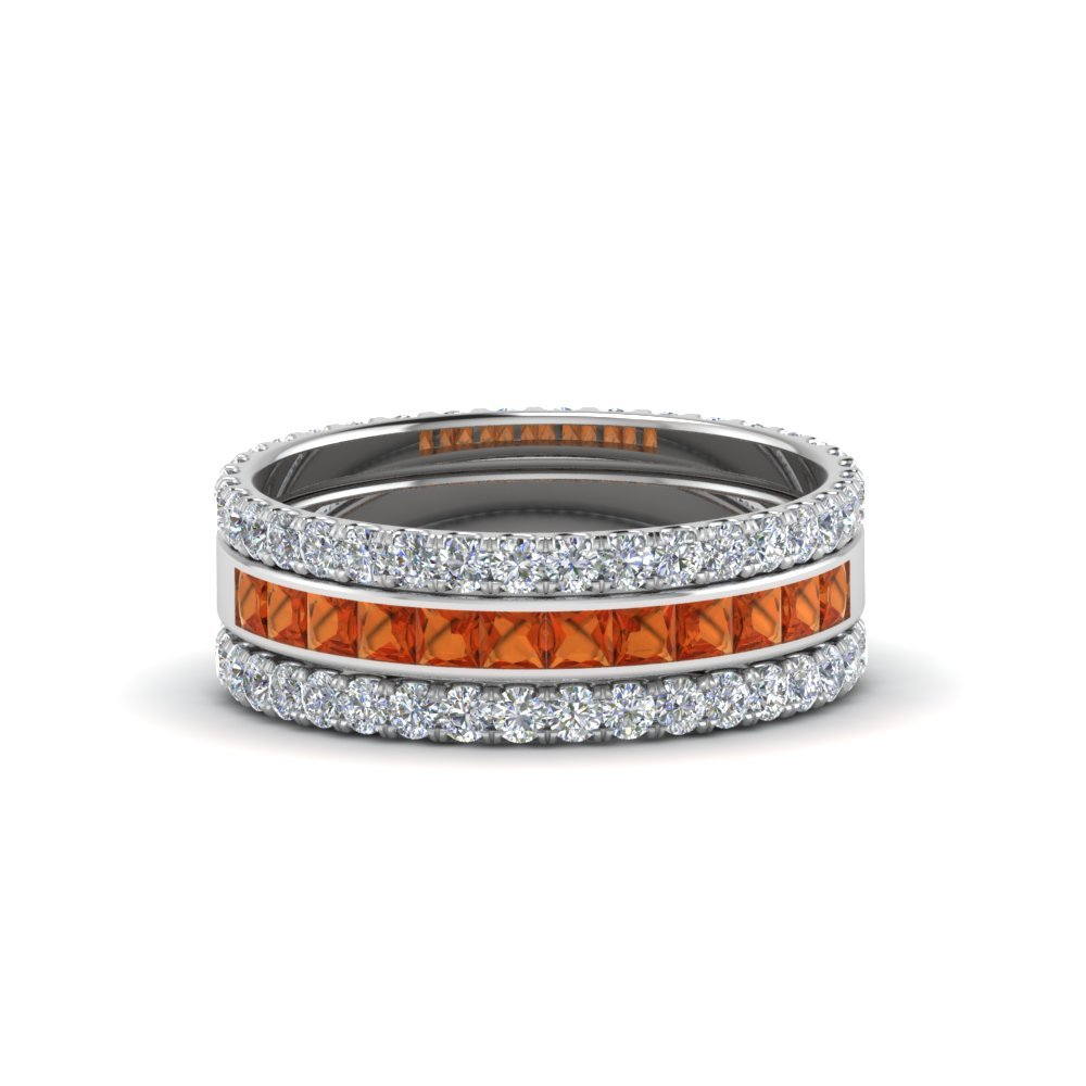 3 Piece Stackable orange sapphire Eternity Band