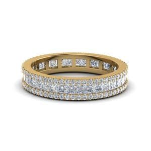 3 Row Diamond Eternity Ring In 18K Yellow Gold