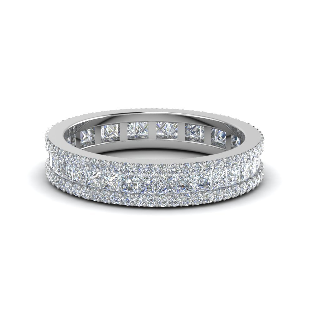 3 Row Diamond Eternity Ring In 950 Platinum