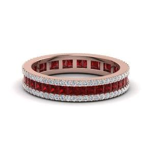 3 Row Diamond Eternity Ring With Ruby In 14K Rose Gold