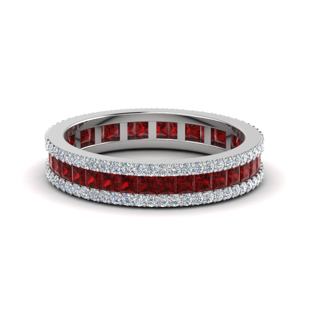 3 Row Diamond and Ruby Eternity Ring