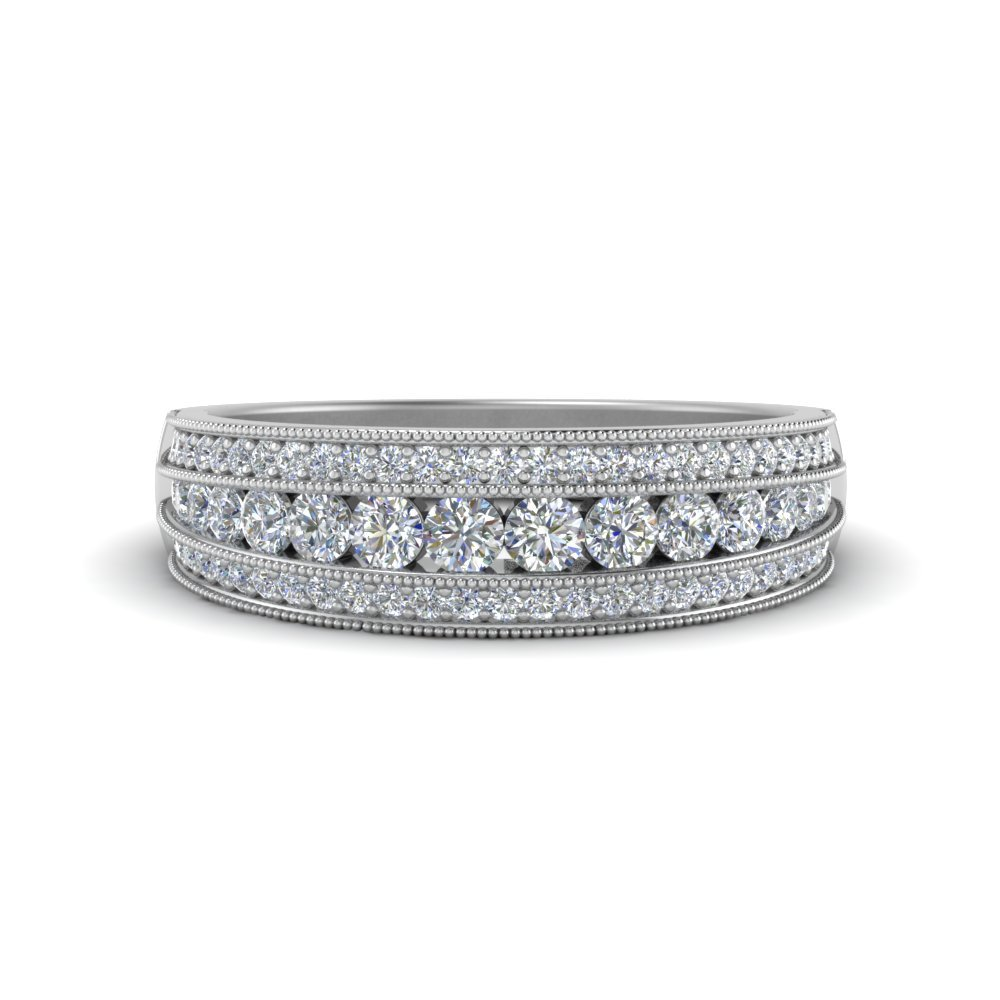 3 Row Diamond Milgrain Band In 18K White Gold