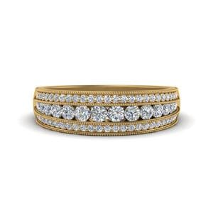 3 Row Diamond Milgrain Band In 14K Yellow Gold