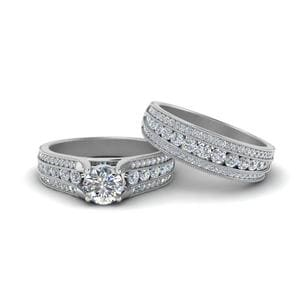 3 Row Milgrain Bridal Ring Set