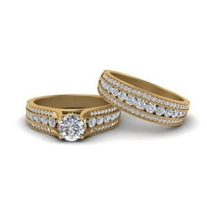 3 Row Diamond Milgrain Bridal Set In 14K Yellow Gold