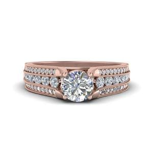 3 Row Diamond Milgrain Engagement Ring In 18K Rose Gold