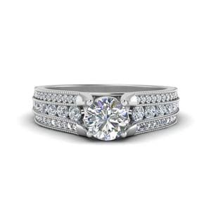3 Row Diamond Milgrain Engagement Ring In 14K White Gold