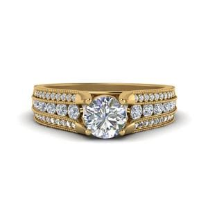 3 Row Diamond Milgrain Engagement Ring In 14K Yellow Gold