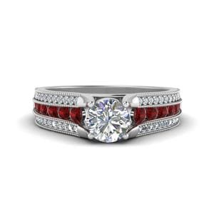 3 Row Diamond Milgrain Engagement Ring With Ruby In 14K White Gold