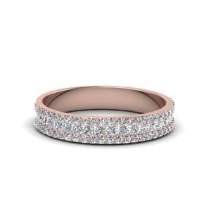 3 Row Round Diamond Band ( 0.60 Ct.) In 14K Rose Gold