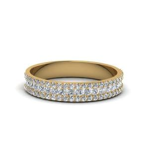 18K Yellow Gold 3 Row Diamond Band