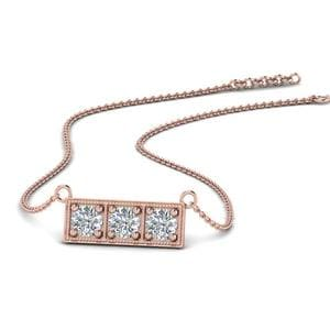 3 Stone Bar Necklace In 14K Rose Gold