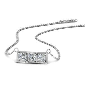 3 Stone Bar Necklace In 14K White Gold